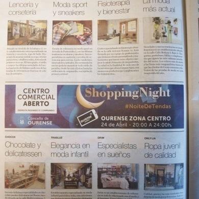 Anuncios comercios participantes na shopping night na Región