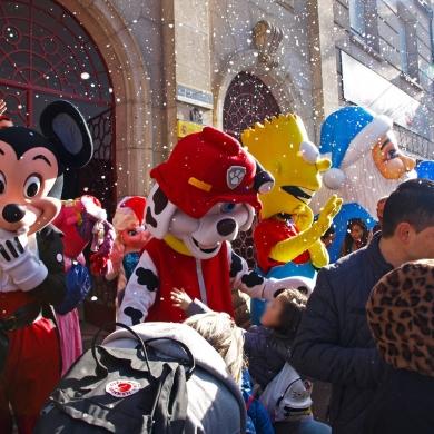 Visita de Papa Noel e os seus amigos