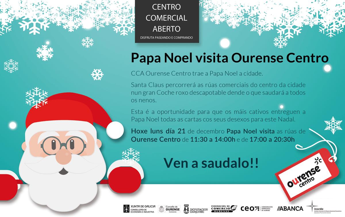 Papá Noel visita Ourense en un descapotable rojo de época