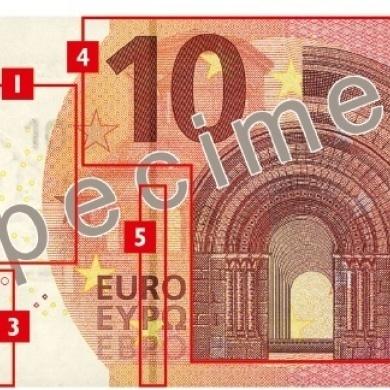 Elementos de seguridad en el nuevo billete de 10€.