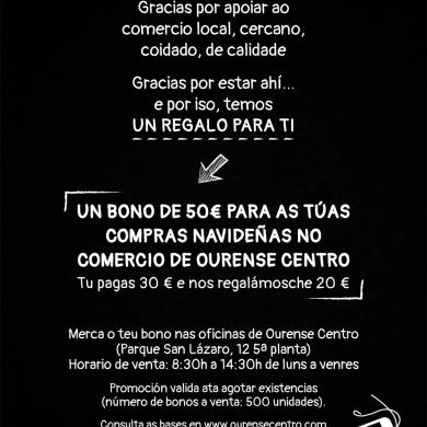 Bono de 50€ para tus compras navidenas en el comercio de Ourense Centro.