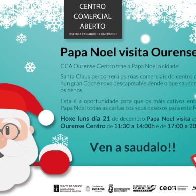 Papa Noel visita Ourense en un descapotable rojo de epoca